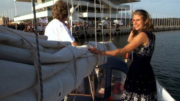 Dr. Rebecca Gomperts aboard the ship as it arrives in Spain (image courtesy of vesselthefilm.com)